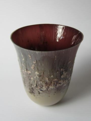 Glazen vaas - paars/zilver/roze