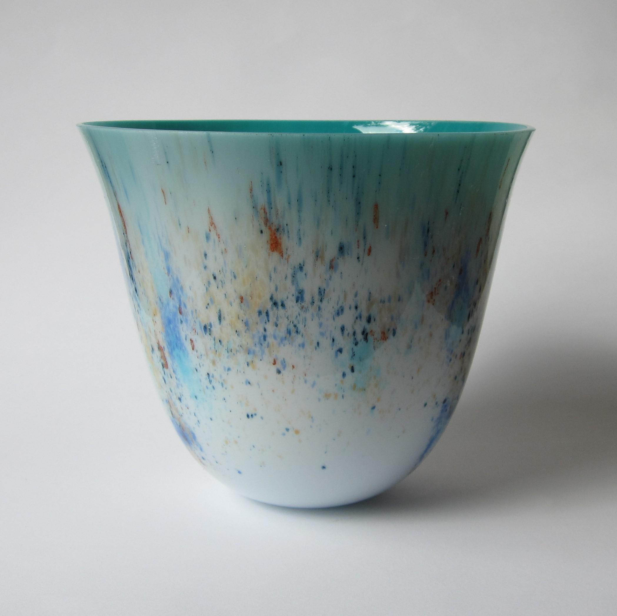 Glazen vaas - blauw/brons/goud/blauw