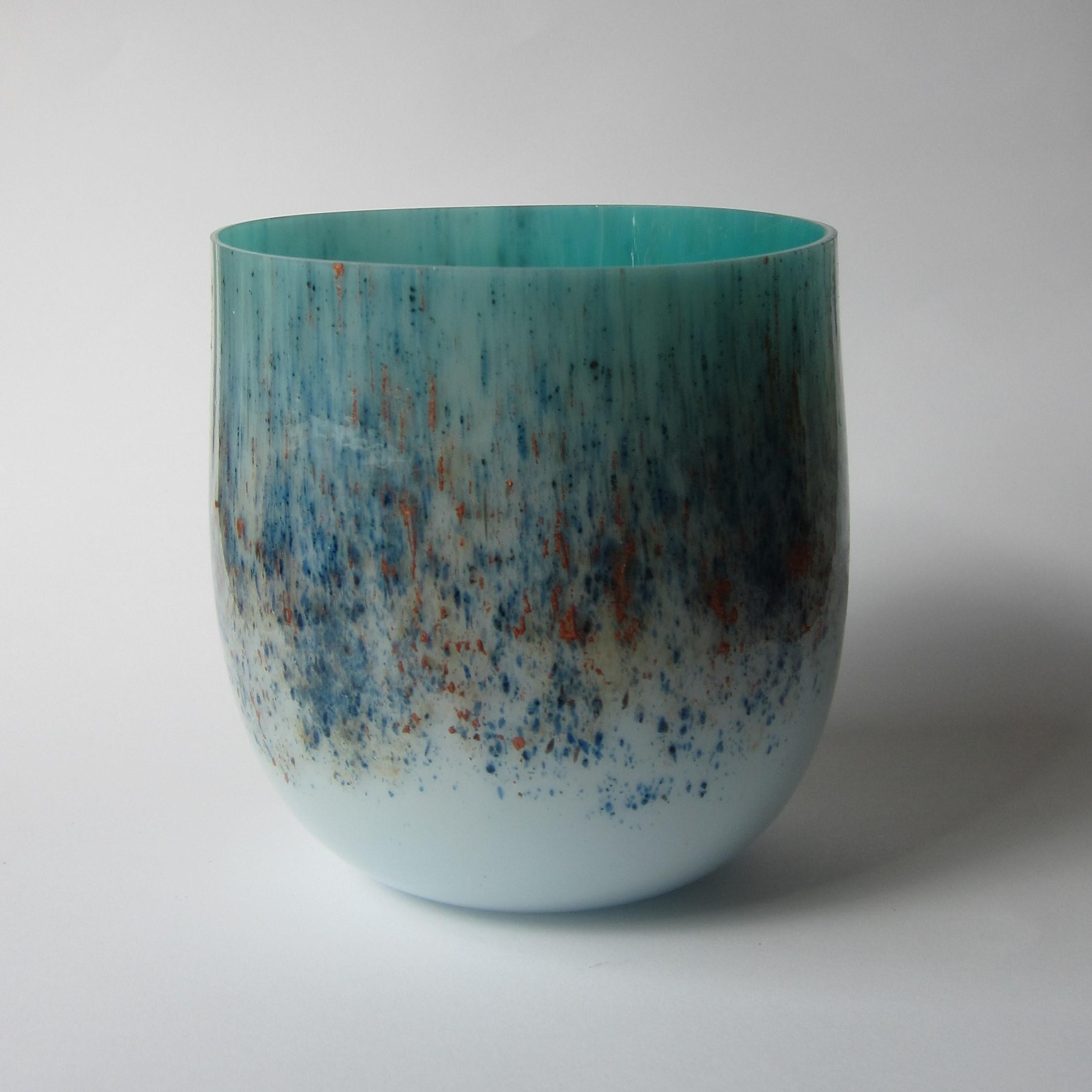 Glazen vaas - blauw/brons/blauw