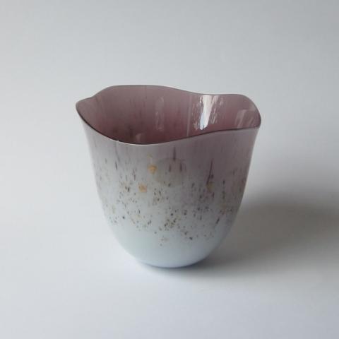 Glazen vaas - roze/goud/zwart - verkocht