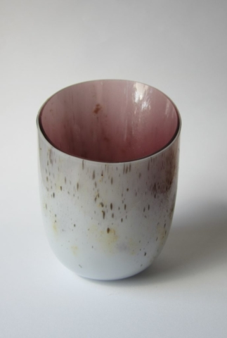 Glazen vaas - roze/goud/zwart