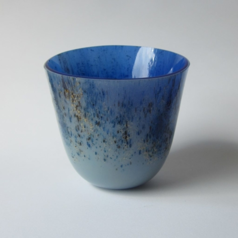 Glazen vaas - blauw/goud/zwart