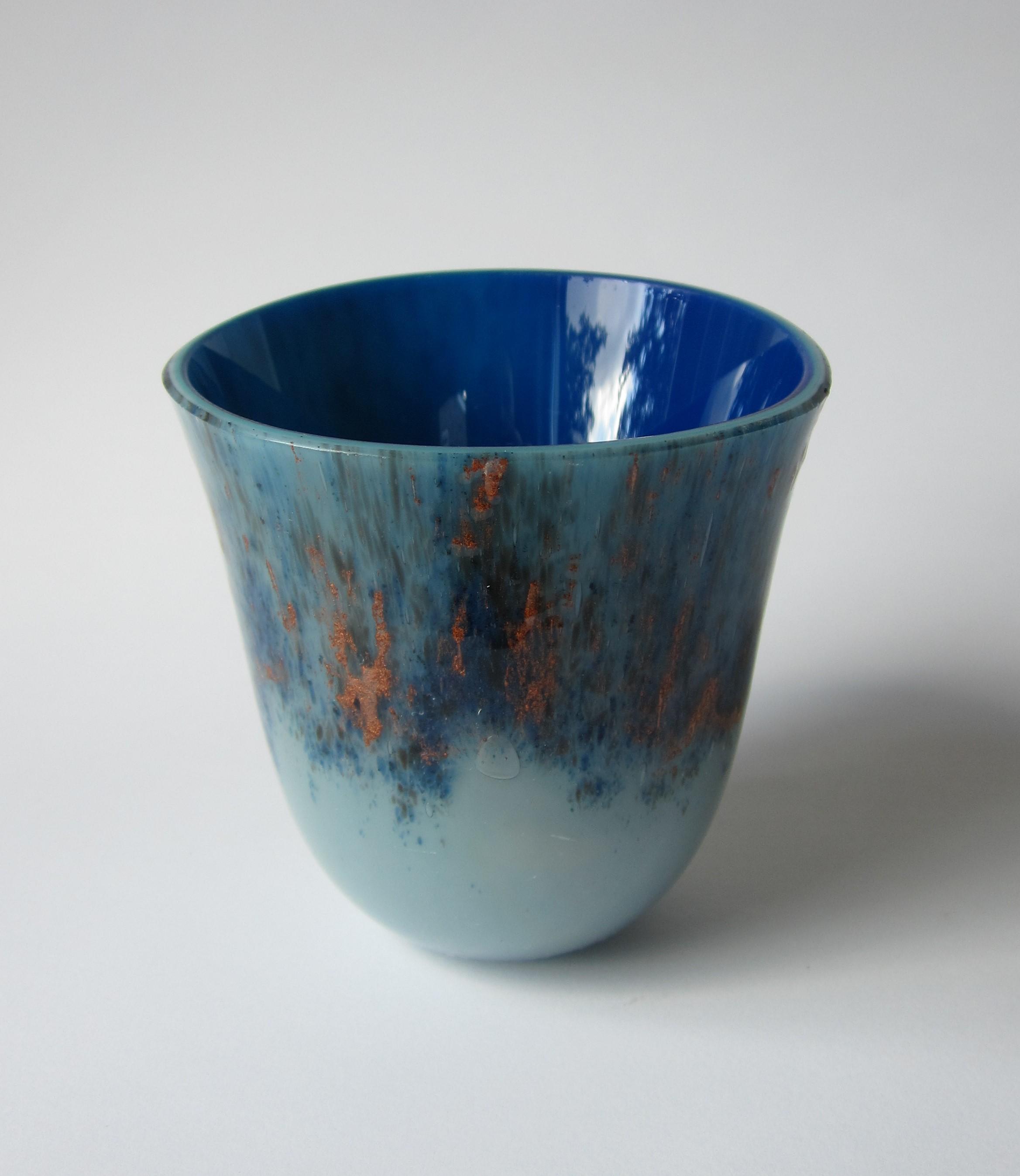 Glazen vaas - blauw/brons/zwart
