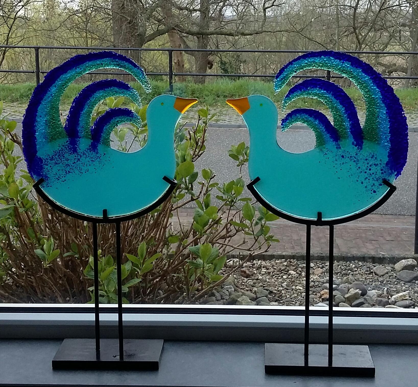 Ganzen - blauw - duo set - verkocht
