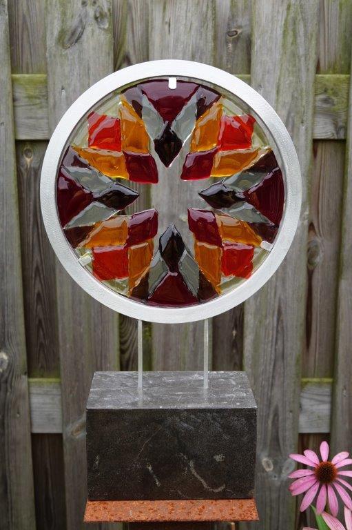 Circle (verkocht) - glas/aluminium/steen