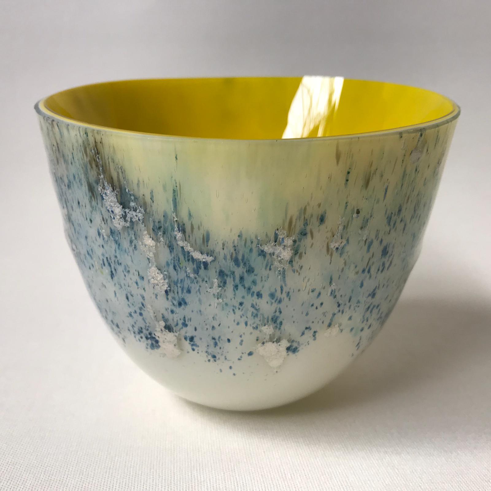 Glazen vaas - geel/zilver/blauw - verkocht